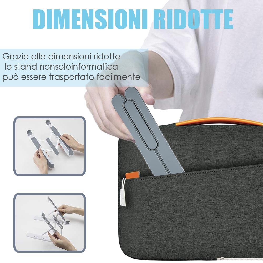 Supporto pc portatile e tablet con 6 livelli regolazione in alluminio foto 4