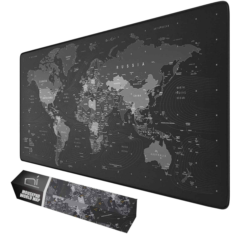Tappetino mouse xxl mappa mondo 900x400x grande per scrivania antiscivolo gaming