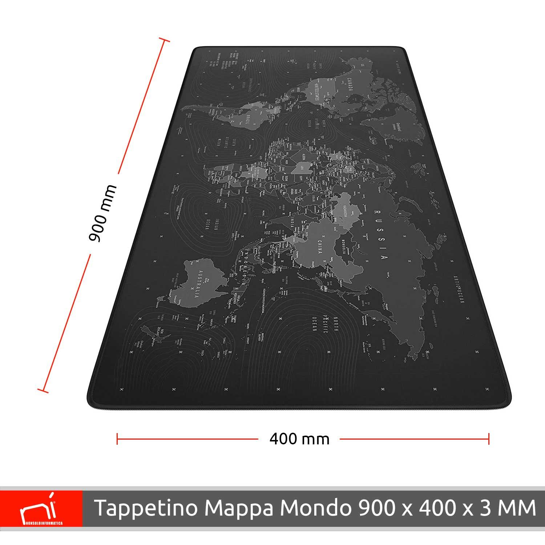 Tappetino mouse xxl mappa mondo 900x400x grande per scrivania antiscivolo gaming foto 4