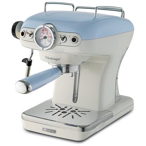 Macchina per caff� ariete 1389 espresso vintage celeste polvere e cialde 2 tazze