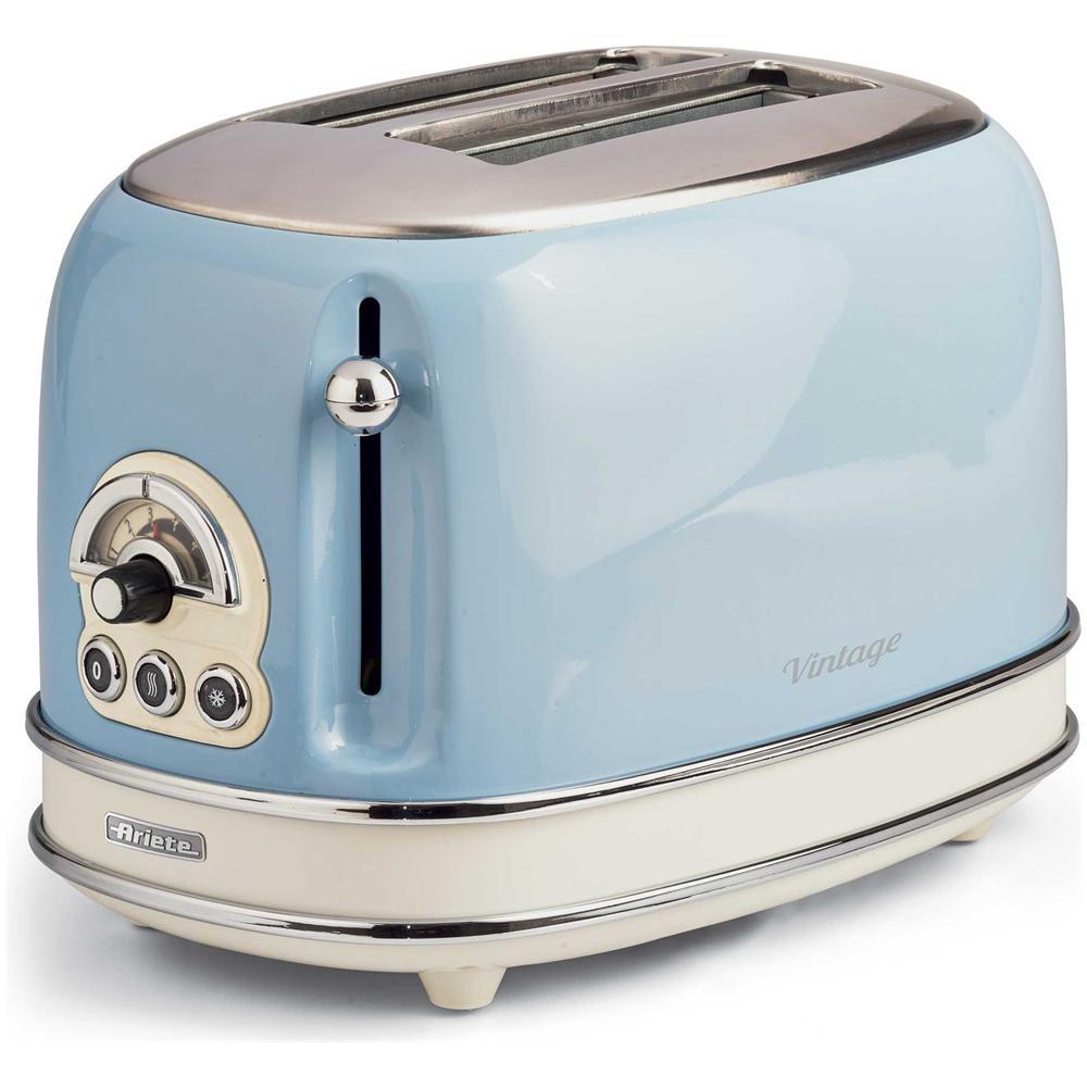 Tostapane elettrico ariete 155 toaster vintage celeste 810 watt 2 fette
