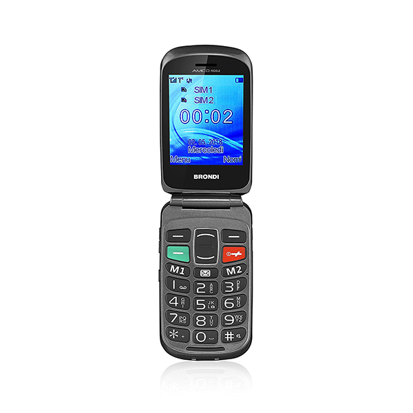 TELEFONO CELLULARE DUALSIM SENIOR BRONDI AMICO FEDELE  BLACK ITALIA
