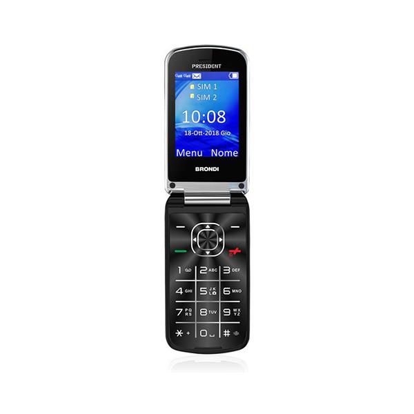 TELEFONO CELLULARE DUALSIM BIG DISPLAY CLAMSHELL BRONDI PRESIDENT  BLACK ITALIA foto 2