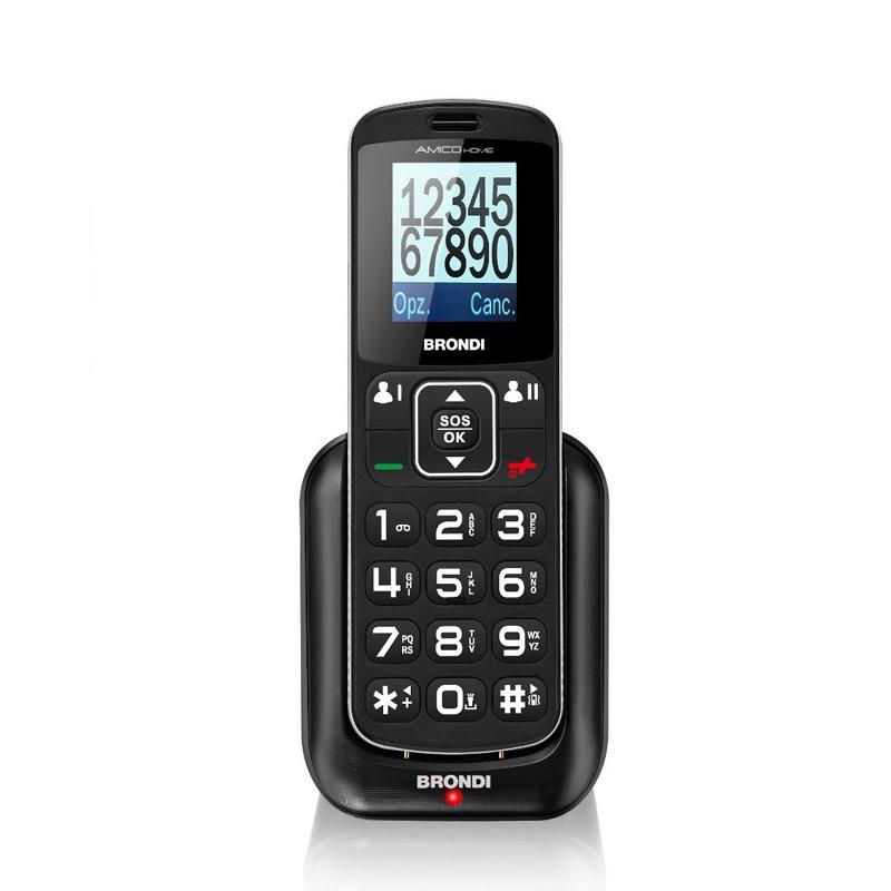 TELEFONO CELLULARE DUALSIM SENIOR BRONDI AMICO HOME  BLACK ITALIA
