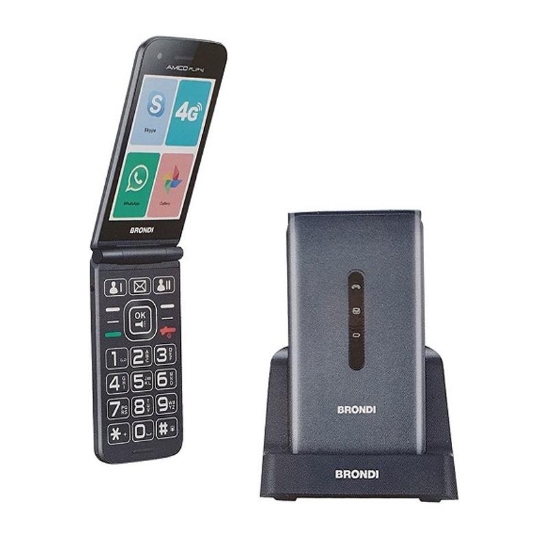 TELEFONO CELLULARE DUALSIM SENIOR BRONDI AMICO FLIP 4G  SILVER ITALIA