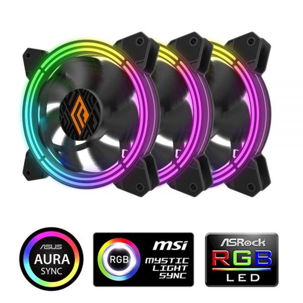 VENTOLA ZEPHYR 120 RGB 3IN1 PWM BLK PACK 3 VENTOLE 120MM ARGB CONTROLLE foto 2