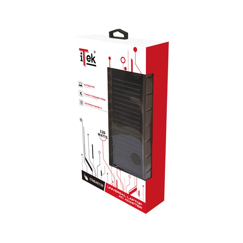 ALIMENTATORE PER NOTEBOOK ITEK - 120 WATT UNIVERSALE, 12 connettori + porta USB foto 2