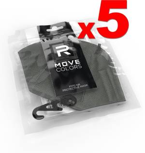 Rmove mascherina ffp2+gancio grigio 5pz - ce.2163