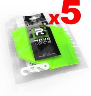 Rmove mascherina ffp2+gancio verde fluo 5pz - ce.2163