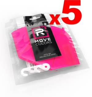 Rmove mascherina ffp2+gancio rosa fluo 5pz - ce.2163