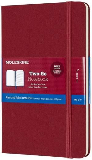 Moleskine taccuino two-go rosso mirtillo 11.5x18cm