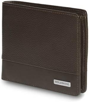 Moleskine portafoglio classic match pelle 12x9.5x2cm marrone legno