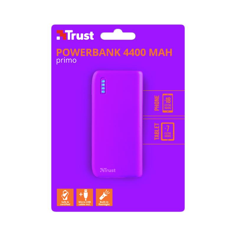 POWER BANK TRUST - Primo 4400 neon purple 22060 foto 2