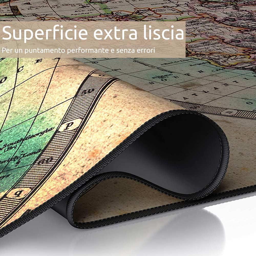 Tappetino mouse xxl mappamondo old style 900x400 grande da scrivania antiscivolo foto 3