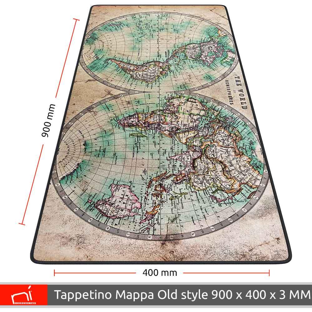 Tappetino mouse xxl mappamondo old style 900x400 grande da scrivania antiscivolo foto 4