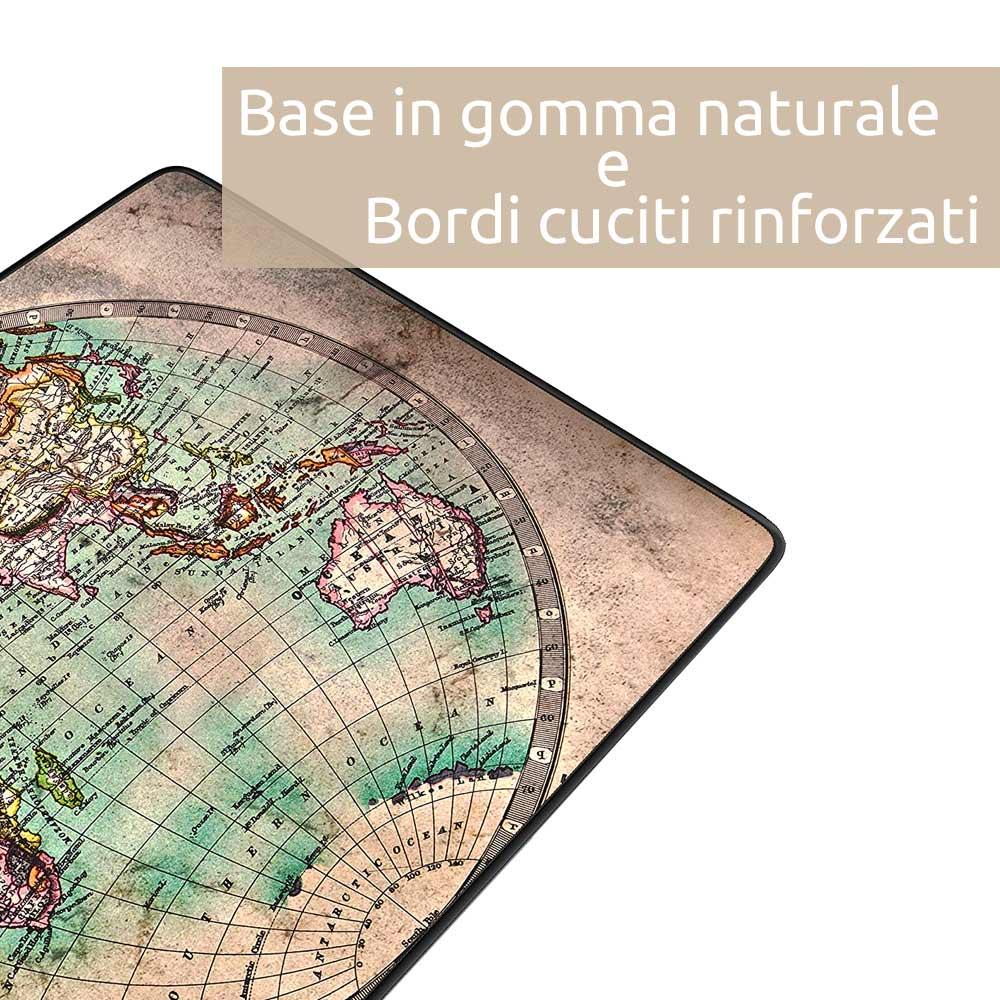 Tappetino mouse xxl mappamondo old style 900x400 grande da scrivania antiscivolo foto 5