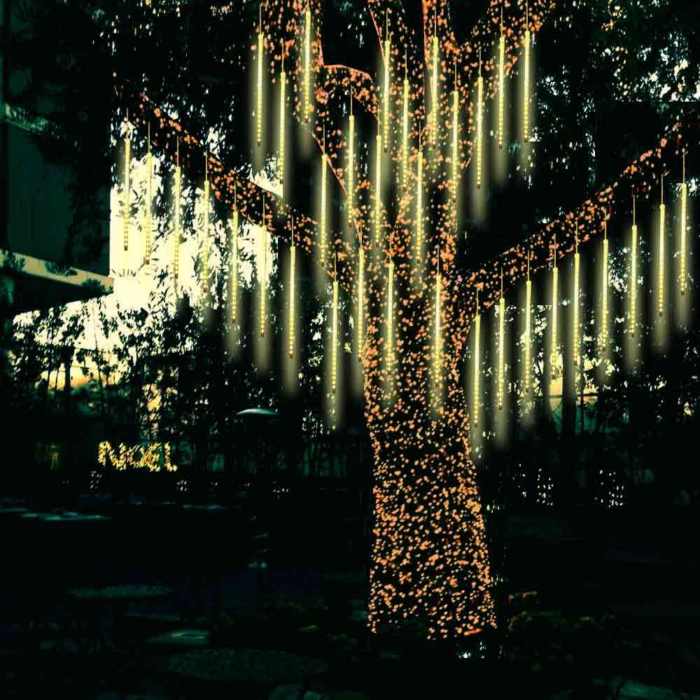 Luci di natale led, tubi catena luminosa meteoriti caldo addobbi alberi balconi