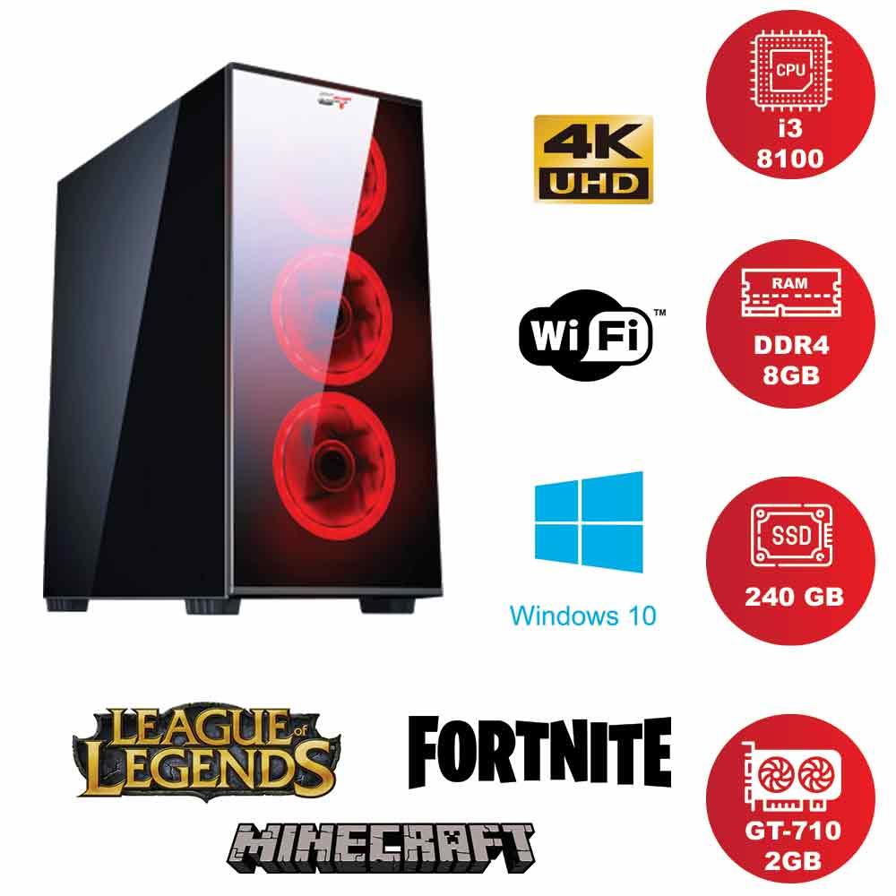 Pc gaming ventole red i3 8100 ram 8gb Ssd 240 Nvidia gt-710 da 2gb foto 5
