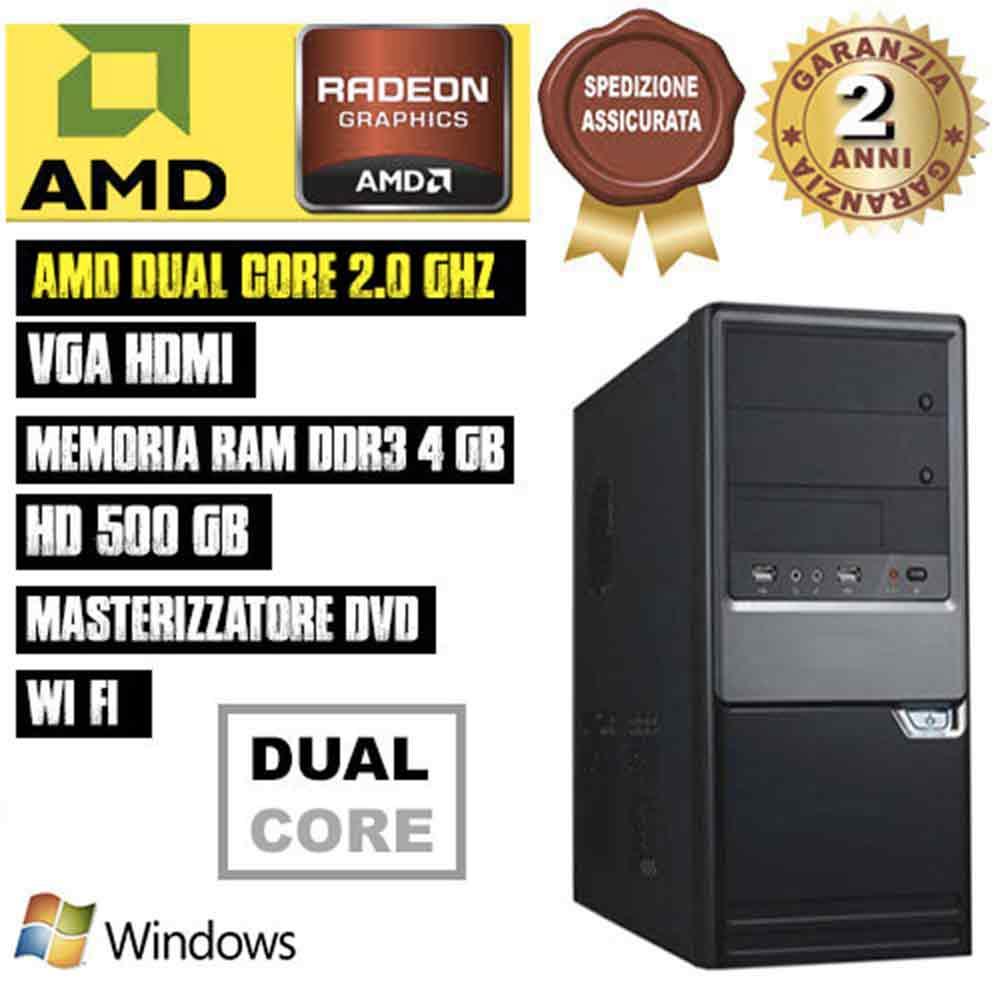 Offerta desktop completo pc amd dual core ram 4gb hd 500gb dvd/fisso assemblato - gia' pronto all'utilizzo