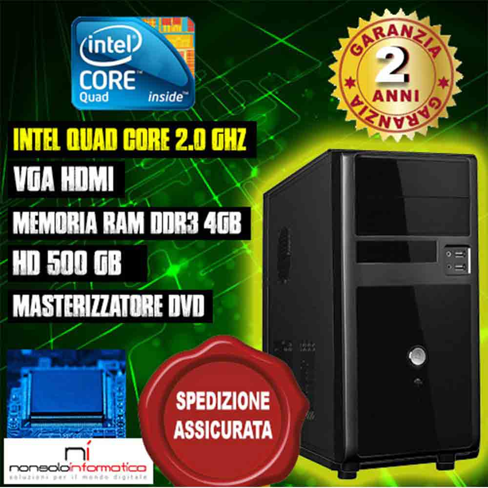 Pc desktop computer fisso intel quad core 2.0ghz ram 4gb/hd 500gb/dvd/hdmi assemblato